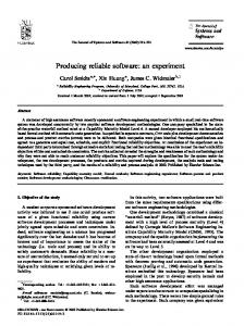 Producing reliable software: an experiment - CiteSeerX