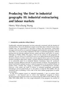 Producing 'the firm' in industrial geography III: industrial ... - CiteSeerX