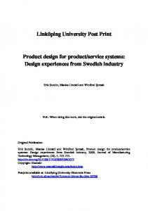 Product design for product/service systems - DiVA