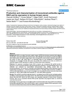 Production and characterisation of monoclonal antibodies against ...
