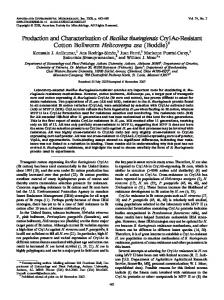 Production and Characterization of Bacillus thuringiensis Cry1Ac ...