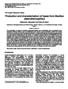 Production and characterization of lipase from Bacillus ...