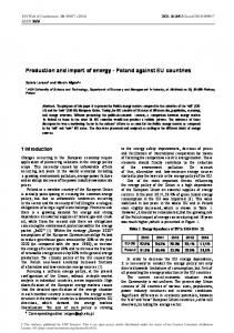 Production and import of energy - Poland ... - E3S Web of Conferences