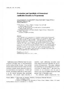 Production and Specificity of Monoclonal Antibodies ... - JIRCAS