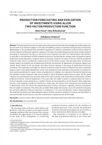 production forecasting and evaluation of investments ...