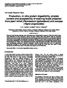 production, in vitro protein digestibility - Academic Journals