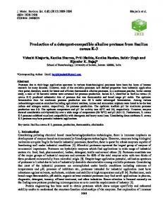 Production of a detergent-compatible alkaline protease from Bacillus