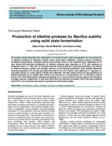 Production of alkaline protease by Bacillus ... - Academic Journals