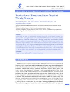 Production of Bioethanol from Tropical Woody Biomass