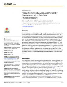 Production of Fatty Acids and Protein by Nannochloropsis in ... - PLOS