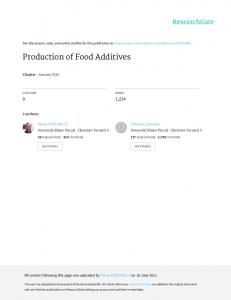 Production of Food Additives