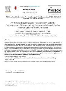 Production of Hydrogen and Nanocarbon by Catalytic Decomposition ...