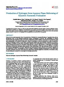 Production of Hydrogen from Aqueous Phase Reforming of Glycerol ...