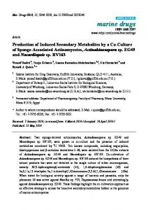 Production of Induced Secondary Metabolites by a ... - BioMedSearch