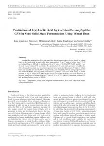 Production of L (+) Lactic Acid by Lactobacillus amylophilus GV6 in ...