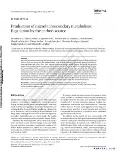 Production of microbial secondary metabolites ...