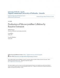 Production of Microcrystalline Cellulose by ... - Semantic Scholar