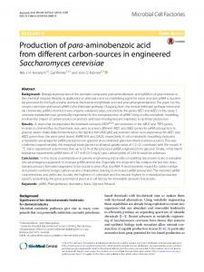 Production of para-aminobenzoic acid from different carbon ... - Core