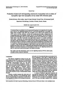Production of plant cell wall degrading enzymes by ... - SciELO