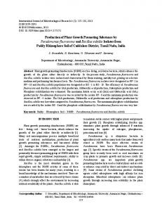Production of Plant Growth Promoting Substance by Pseudomonas ...