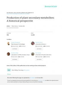 Production of plant secondary metabolites: A