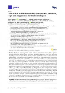 Production of Plant Secondary Metabolites: Examples, Tips ... - MDPI