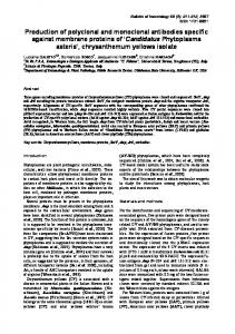 Production of polyclonal and monoclonal antibodies specific against ...