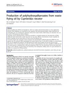 Production of polyhydroxyalkanoates from waste ... - BioMedSearch