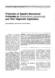 Production of Specific Monoclonal Antibodies to Burkholderia ...