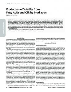 Production of Volatiles from Fatty Acids and Oils by