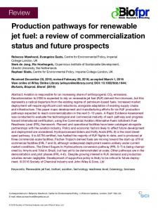 Production pathways for renewable jet fuel: a ... - Wiley Online Library