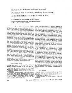 Production Rate of Human Luteinizing Hormone and
