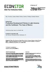Productive Development Policies in Latin America and ... - EconStor