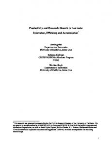 Productivity and Economic Growth in East Asia: Innovation ... - CiteSeerX