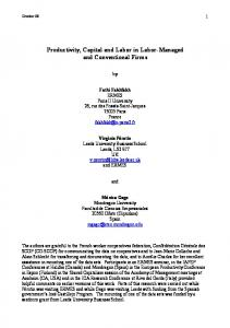 Productivity, Capital and Labor in Labor-Managed and ... - CiteSeerX