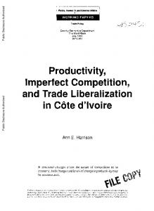 Productivity, Imperfect Competition, and Trade Liberalization in Cote d ...