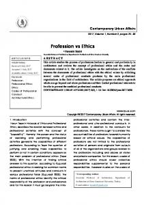 Profession vs Ethics - Journal of Contemporary Urban Affairs