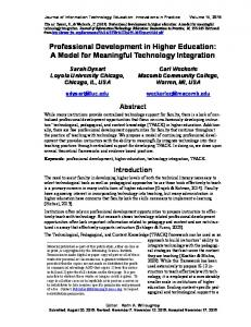 Professional Development in Higher Education - Journal of