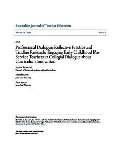 Professional Dialogue, Reflective Practice and ... - Research Online