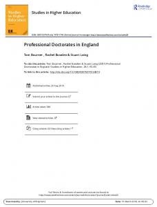 Professional Doctorates in England