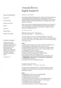 Professional English teacher CV template