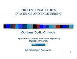 Professional Ethics In Science And Engineering - Research