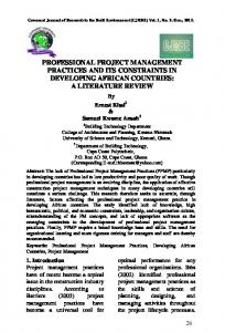 professional project management practices and its ...