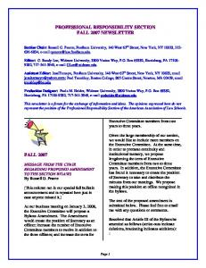 professional responsibility section fall 2007 newsletter fall 2007