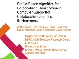 Profile-Based Algorithm for Personalized Gamification ...