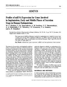 Profiles of mRNA Expression for Genes Involved in Implantation, Early ...