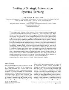 Profiles of Strategic Information Systems Planning - INFORMS ...