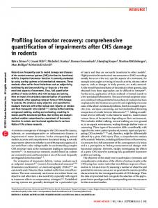 Profiling locomotor recovery: comprehensive quantification of ... - Nature