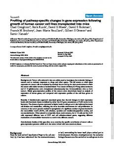 Profiling of pathway-specific changes in gene expression following ...