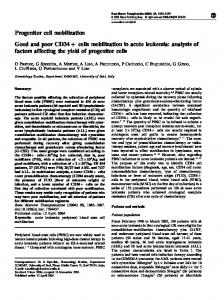 Progenitor cell mobilization Good and poor CD34+ cells ... - Nature
